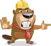 Beaver Cartoon Vector Character AKA Bent the Beaver - Direct Attention 2
