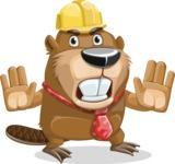 Beaver Cartoon Vector Character AKA Bent the Beaver - Stop