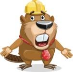 Beaver Cartoon Vector Character AKA Bent the Beaver - Stunned