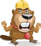 Beaver Cartoon Vector Character AKA Bent the Beaver - Angry