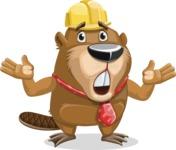 Beaver Cartoon Vector Character AKA Bent the Beaver - Shocked