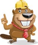 Beaver Cartoon Vector Character AKA Bent the Beaver - Attention