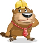 Beaver Cartoon Vector Character AKA Bent the Beaver - Confused