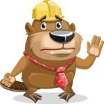Beaver Cartoon Vector Character AKA Bent the Beaver - Goodbye