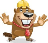 Beaver Cartoon Vector Character AKA Bent the Beaver - Hello