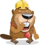 Beaver Cartoon Vector Character AKA Bent the Beaver - Bored