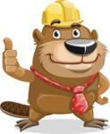 Beaver Cartoon Vector Character AKA Bent the Beaver - Thumbs Up