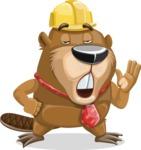 Beaver Cartoon Vector Character AKA Bent the Beaver - Bored 2