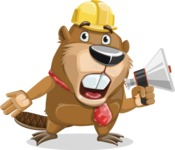 Beaver Cartoon Vector Character AKA Bent the Beaver - Loudspeaker