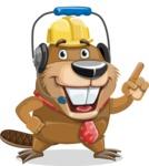 Beaver Cartoon Vector Character AKA Bent the Beaver - Support 2