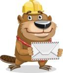 Beaver Cartoon Vector Character AKA Bent the Beaver - Letter