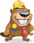Beaver Cartoon Vector Character AKA Bent the Beaver - Ribbon
