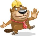 Beaver Cartoon Vector Character AKA Bent the Beaver - Wave