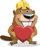Beaver Cartoon Vector Character AKA Bent the Beaver - Love