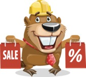 Beaver Cartoon Vector Character AKA Bent the Beaver - Sale 2