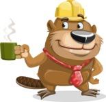 Beaver Cartoon Vector Character AKA Bent the Beaver - Coffee