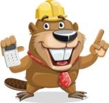 Beaver Cartoon Vector Character AKA Bent the Beaver - Calculator