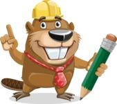 Beaver Cartoon Vector Character AKA Bent the Beaver - Pencil