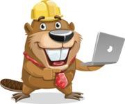 Beaver Cartoon Vector Character AKA Bent the Beaver - Laptop 1