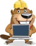 Beaver Cartoon Vector Character AKA Bent the Beaver - Laptop 2