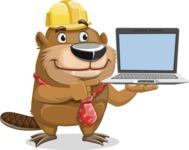 Beaver Cartoon Vector Character AKA Bent the Beaver - Laptop 3
