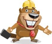 Beaver Cartoon Vector Character AKA Bent the Beaver - Briefcase 1