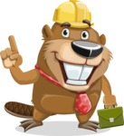 Beaver Cartoon Vector Character AKA Bent the Beaver - Briefcase 2