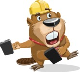 Beaver Cartoon Vector Character AKA Bent the Beaver - Briefcase 3