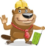 Beaver Cartoon Vector Character AKA Bent the Beaver - Travel 1
