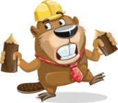 Beaver Cartoon Vector Character AKA Bent the Beaver - Wood