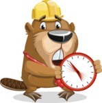 Beaver Cartoon Vector Character AKA Bent the Beaver - Time is Yours
