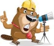 Beaver Cartoon Vector Character AKA Bent the Beaver - Telescope