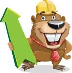 Beaver Cartoon Vector Character AKA Bent the Beaver - Pointer 1