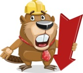 Beaver Cartoon Vector Character AKA Bent the Beaver - Pointer 3