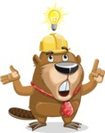 Beaver Cartoon Vector Character AKA Bent the Beaver - Idea 2