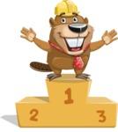 Beaver Cartoon Vector Character AKA Bent the Beaver - On Top