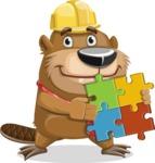 Beaver Cartoon Vector Character AKA Bent the Beaver - Puzzle