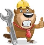 Beaver Cartoon Vector Character AKA Bent the Beaver - Repair
