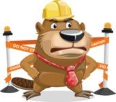 Beaver Cartoon Vector Character AKA Bent the Beaver - Under Construction 2