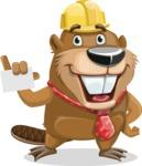 Beaver Cartoon Vector Character AKA Bent the Beaver - Sign 1
