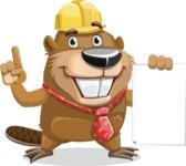 Beaver Cartoon Vector Character AKA Bent the Beaver - Sign 2