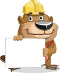 Beaver Cartoon Vector Character AKA Bent the Beaver - Sign 3