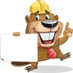 Beaver Cartoon Vector Character AKA Bent the Beaver - Sign 4
