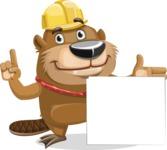 Beaver Cartoon Vector Character AKA Bent the Beaver - Sign 7
