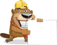 Beaver Cartoon Vector Character AKA Bent the Beaver - Sign 8