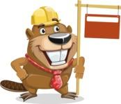 Beaver Cartoon Vector Character AKA Bent the Beaver - Sign 9