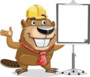 Beaver Cartoon Vector Character AKA Bent the Beaver - Presentation 1