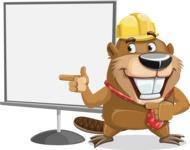 Beaver Cartoon Vector Character AKA Bent the Beaver - Presentation 2
