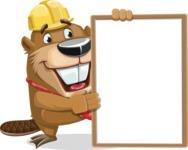 Beaver Cartoon Vector Character AKA Bent the Beaver - Presentation 4