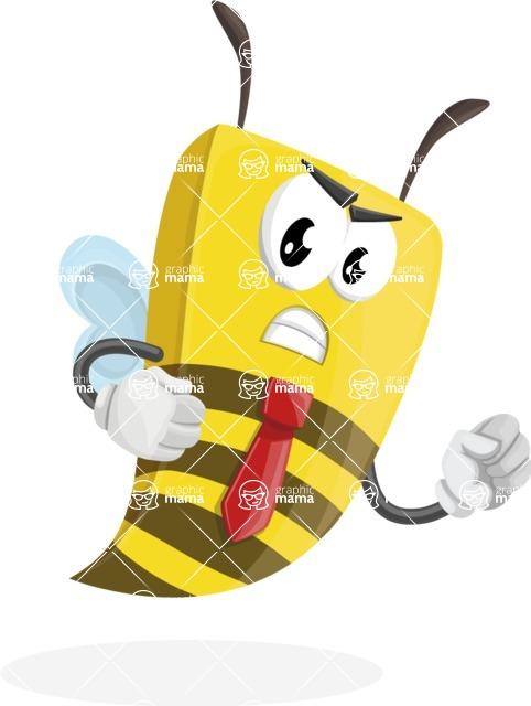 Bee Businessman Cartoon Vector Character AKA Lee the Business Bee - Angry